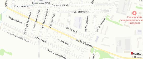 Улица Щорса на карте Глазова с номерами домов