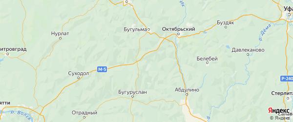Карта Северного района Оренбургской области с городами и населенными пунктами