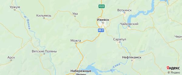 Карта Малопургинского района Республики Удмуртии с городами и населенными пунктами