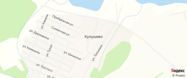 Карта деревни Кулушево в Татарстане с улицами и номерами домов