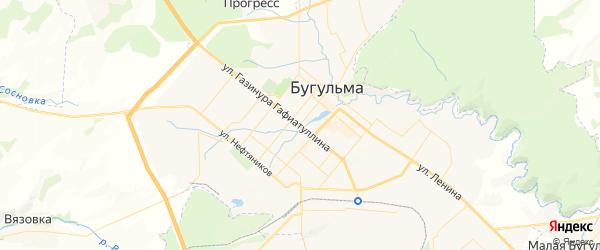 Карта Бугульмы с районами, улицами и номерами домов