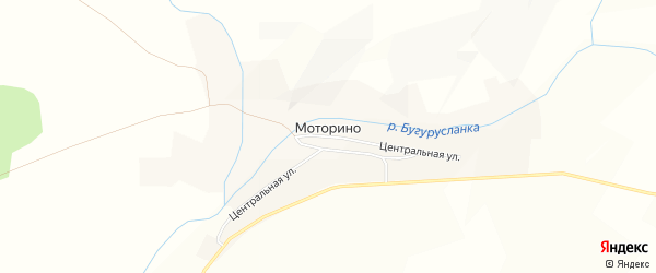 Карта села Моторино в Оренбургской области с улицами и номерами домов
