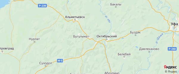 Карта Бугульминского района Республики Татарстана с городами и населенными пунктами
