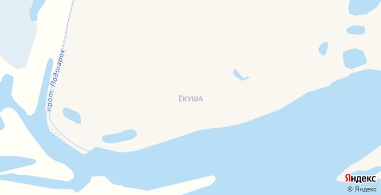 Карта деревни Екуша в Нарьяне-Маре с улицами, домами и почтовыми отделениями со спутника онлайн