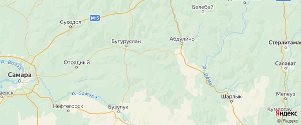 Карта Асекеевского района Оренбургской области с городами и населенными пунктами
