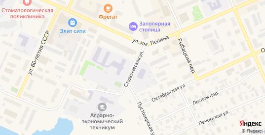Студенческая улица в Нарьяне-Маре с номерами домов на карте. Спутник и схема онлайн