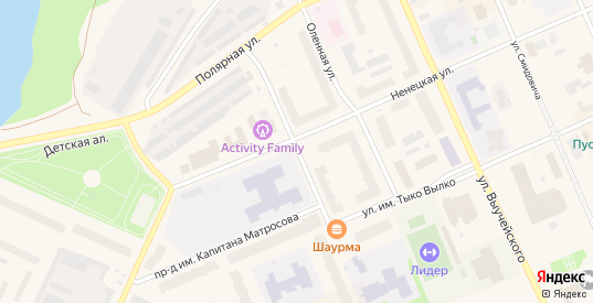 Улица Профессора Г.А.Чернова в Нарьяне-Маре с номерами домов на карте. Спутник и схема онлайн