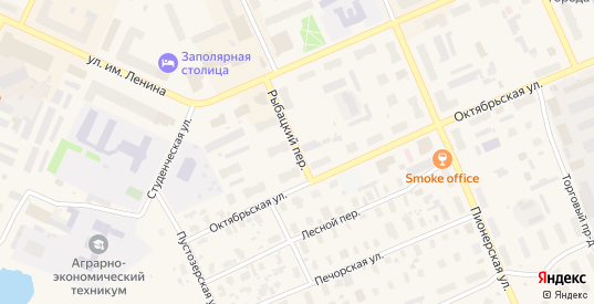 Рыбацкий переулок в Нарьяне-Маре с номерами домов на карте. Спутник и схема онлайн