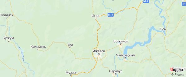 Карта Якшур-бодьинского района Республики Удмуртии с городами и населенными пунктами