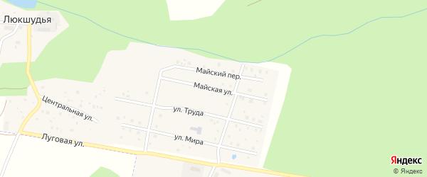 Майская улица на карте села Люкшудьи Удмуртии с номерами домов
