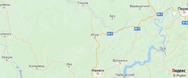 Карта Игринского района Республики Удмуртии с городами и населенными пунктами