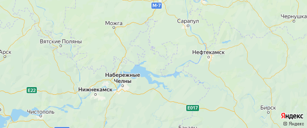 Карта Агрызского района Республики Татарстана с городами и населенными пунктами