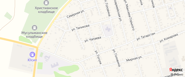 Улица Чапаева на карте Мензелинска с номерами домов