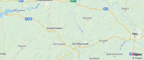 Карта Азнакаевского района Республики Татарстана с городами и населенными пунктами