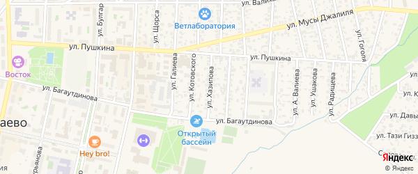 Улица З.Хазипова на карте Азнакаево с номерами домов