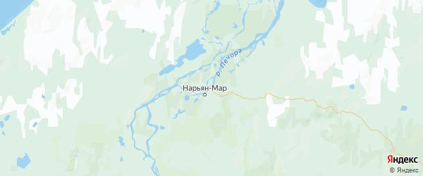 Карта Заполярного района Ненецкого автономного округа с городами и населенными пунктами