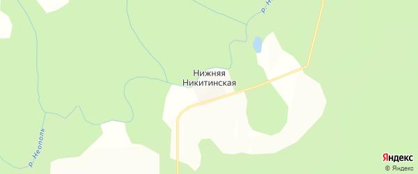 Карта Нижней Никитинской деревни в Кировской области с улицами и номерами домов