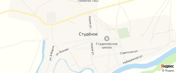 Карта Студеного села в Оренбургской области с улицами и номерами домов