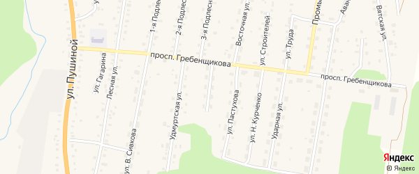 Улица Чапаева на карте села Якшура-Бодьи Удмуртии с номерами домов