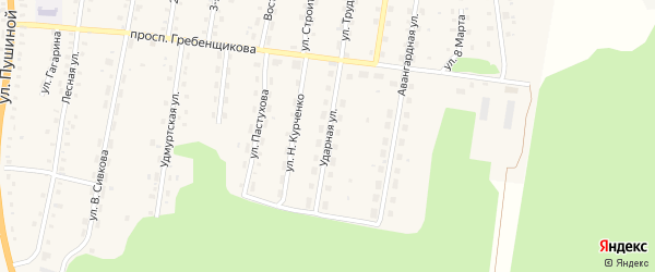 Ударная улица на карте села Якшура-Бодьи Удмуртии с номерами домов