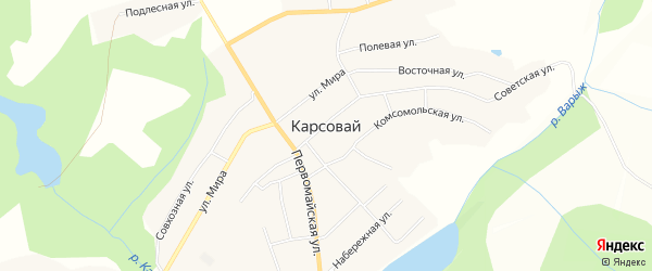 Карта села Карсовая в Удмуртии с улицами и номерами домов