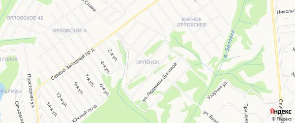 Карта территории ДНТ Орленка города Ижевска в Удмуртии с улицами и номерами домов