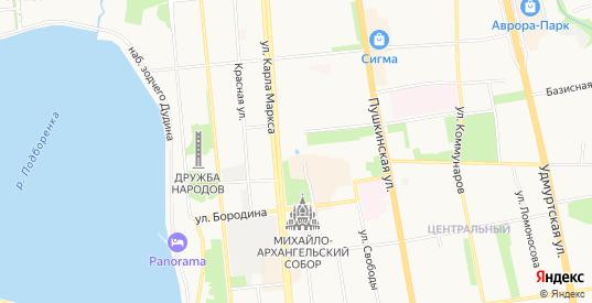 Карта населенного пункта Рыбацкие избушки в Ижевске с улицами, домами и почтовыми отделениями со спутника онлайн