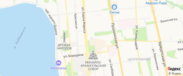 Садовое товарищество Садовник на карте Ижевска с номерами домов