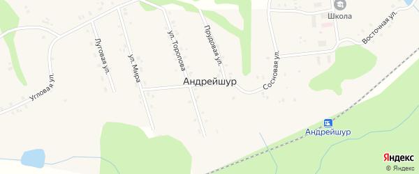 Советская улица на карте села Андрейшур Удмуртии с номерами домов