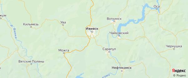 Карта Завьяловского района Республики Удмуртии с городами и населенными пунктами