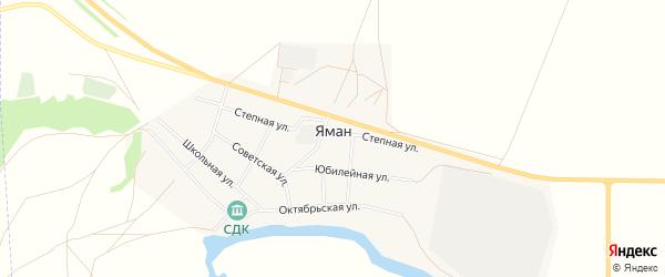 Карта села Яман в Оренбургской области с улицами и номерами домов