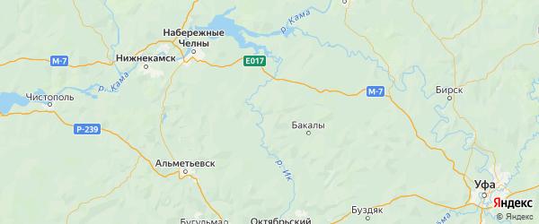 Карта Муслюмовского района Республики Татарстана с городами и населенными пунктами