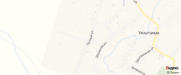 Луговая улица на карте села Уязытамак Башкортостана с номерами домов