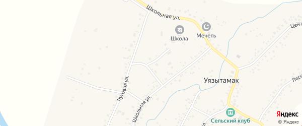 Луговой переулок на карте села Уязытамак Башкортостана с номерами домов