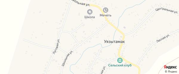 Школьная улица на карте села Уязытамак Башкортостана с номерами домов