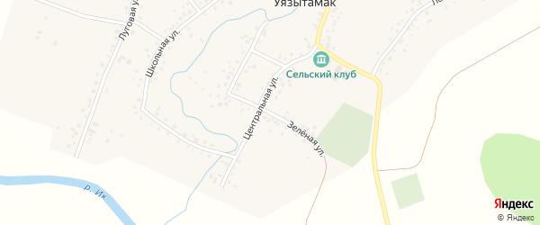 Зеленая улица на карте села Уязытамак Башкортостана с номерами домов