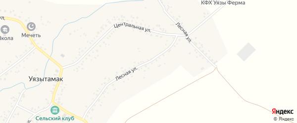 Лесная улица на карте села Уязытамак Башкортостана с номерами домов