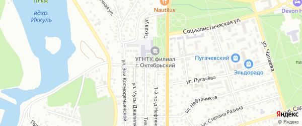 Тихой 1-й проезд на карте Октябрьского с номерами домов