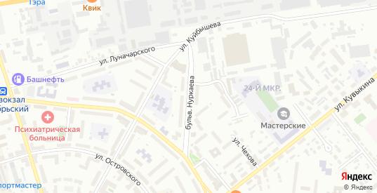 Бульвар Нуркаева в Октябрьском с номерами домов на карте. Спутник и схема онлайн