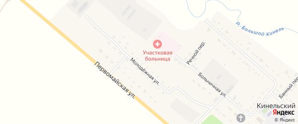 Молодежная улица на карте Кинельского поселка Оренбургской области с номерами домов