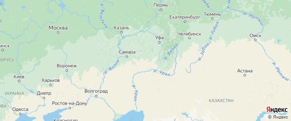 Карта Оренбургской области с городами и районами
