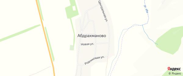 Карта села Абдрахманово в Оренбургской области с улицами и номерами домов