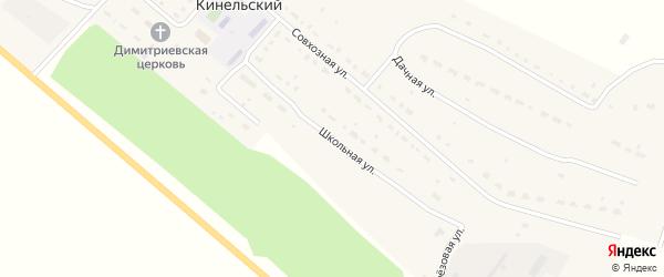 Школьная улица на карте Кинельского поселка Оренбургской области с номерами домов
