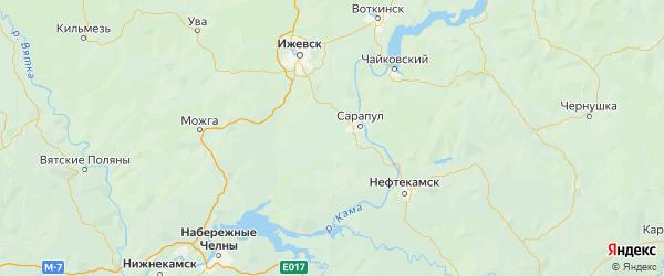 Карта Сарапульского района Республики Удмуртии с городами и населенными пунктами