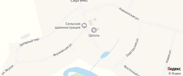 Школьный переулок на карте села Сергино Удмуртии с номерами домов
