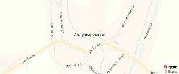 Улица Кирзавод на карте села Абдулкаримово Башкортостана с номерами домов