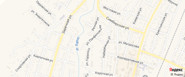 Улица Панфиловцев на карте Абдулино с номерами домов