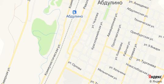 Карта территории Мирный в Абдулино с улицами, домами и почтовыми отделениями со спутника онлайн