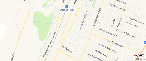 Карта территории Мирного города Абдулино в Оренбургской области с улицами и номерами домов