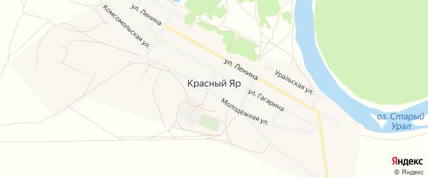 Карта села Красного Яра в Оренбургской области с улицами и номерами домов